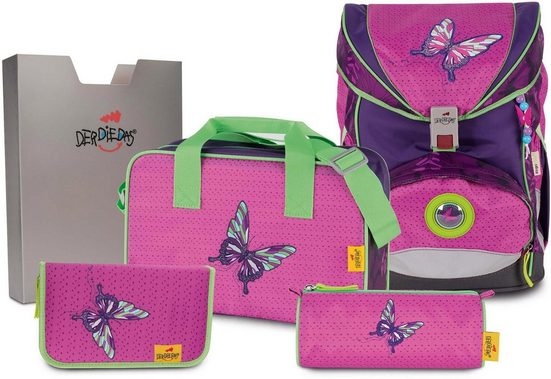 DerDieDas® Schulrucksack »ErgoFlex Superlight - Papillon« (Set)