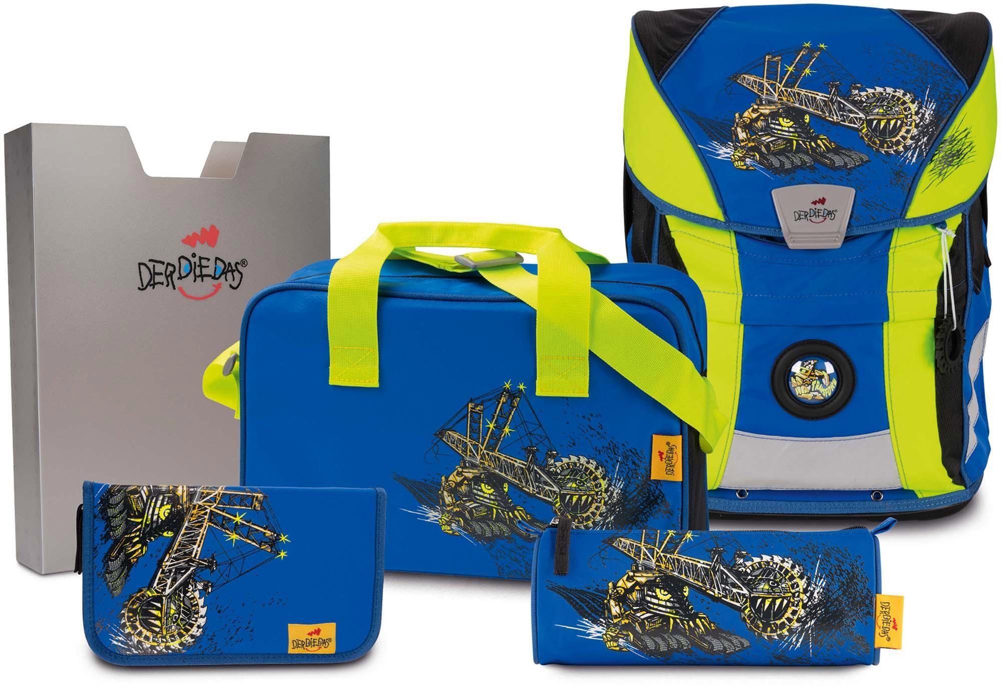DerDieDas Schulrucksack Set (5-tlg.), »ErgoFlex Vario - Monsterbagger«