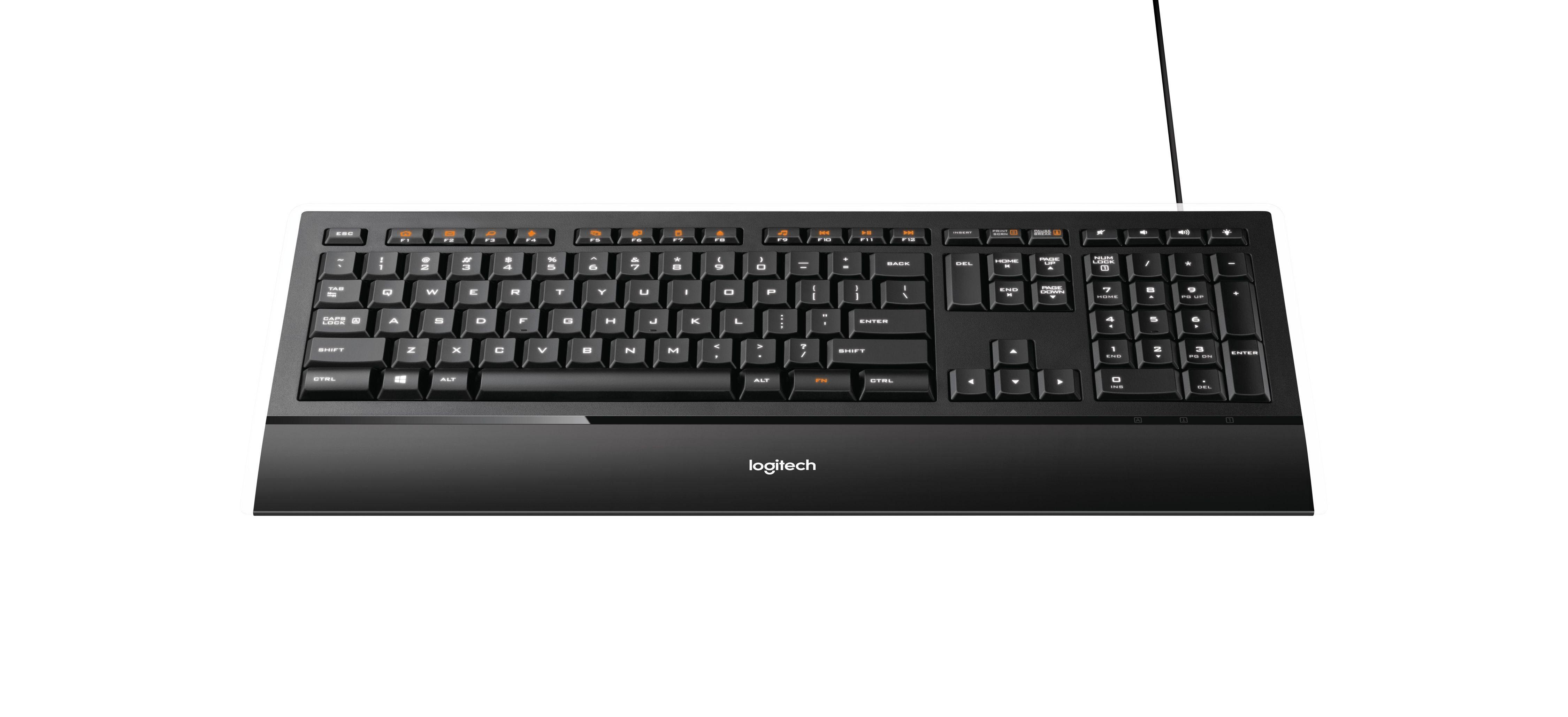 Logitech K740 illumin.Keyboard black USB(DE) »Elegantes Design mit Hintergrundbeleuchtung«