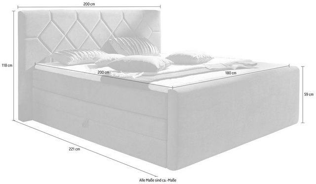 Betten - Places of Style Boxspringbett »Atlanta«, inklusive Topper und Bettkasten › Einheitsgröße › schwarz  - Onlineshop OTTO