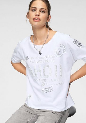Monari Rundhalsshirt mit glänzendem Schriftzug
