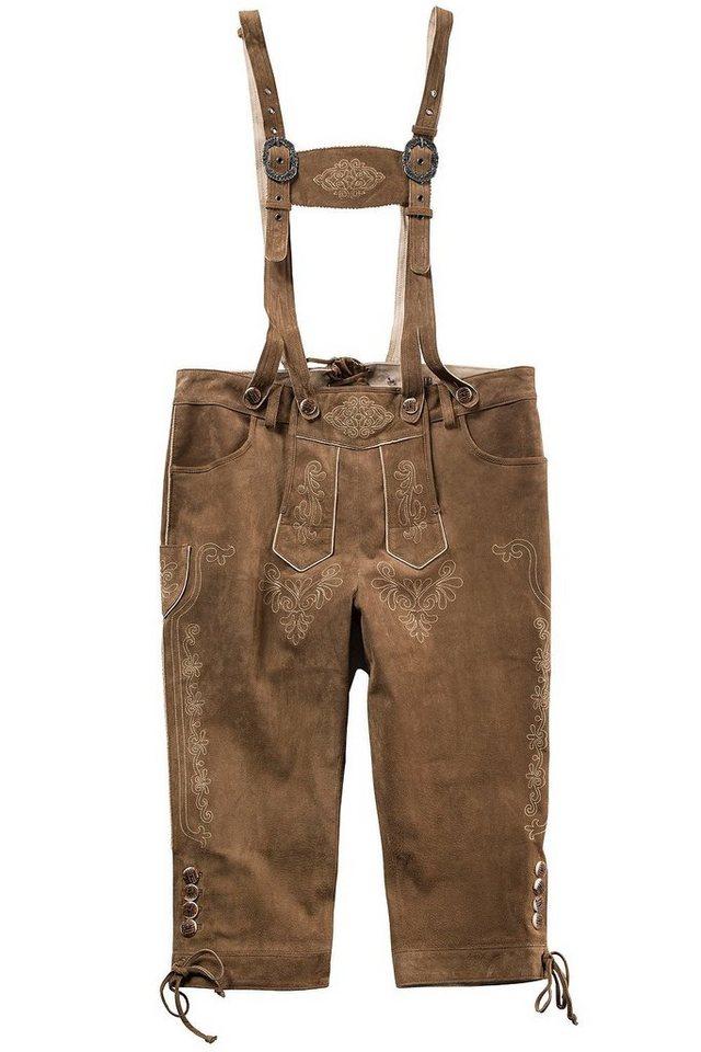 Herren JP1880 Lederhose bis 70 Trachtenhose mit Stickereien & abnehmbaren Hosenträgern Knöpfe in Horn-Optik braun   04056088735743