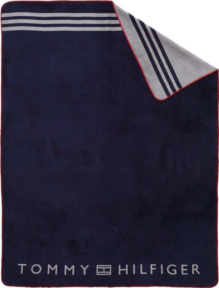 Plaid Fleece Tommy Hilfiger Mit Grossem Logodruck Online Kaufen Otto