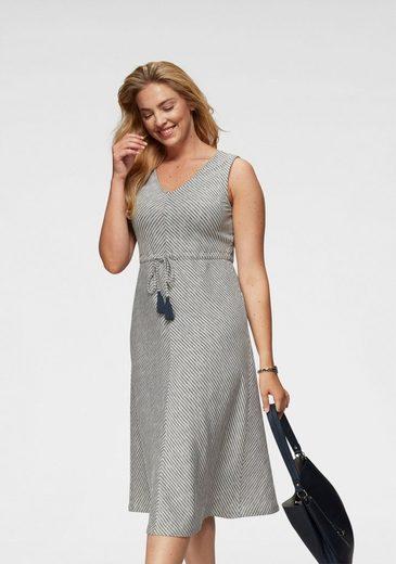 FRAPP Sommerkleid mit Taillen-Bindeband und Quasten