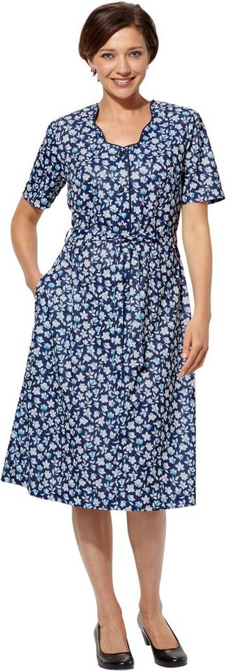 Damen Classic Basics Jersey-Kleid mit Bindegürtel blau | 05425023251362