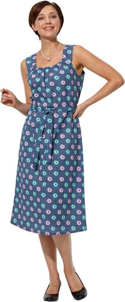 Damen Classic Basics Kleid mit ansprechendem Blütendessin blau | 08693458059854