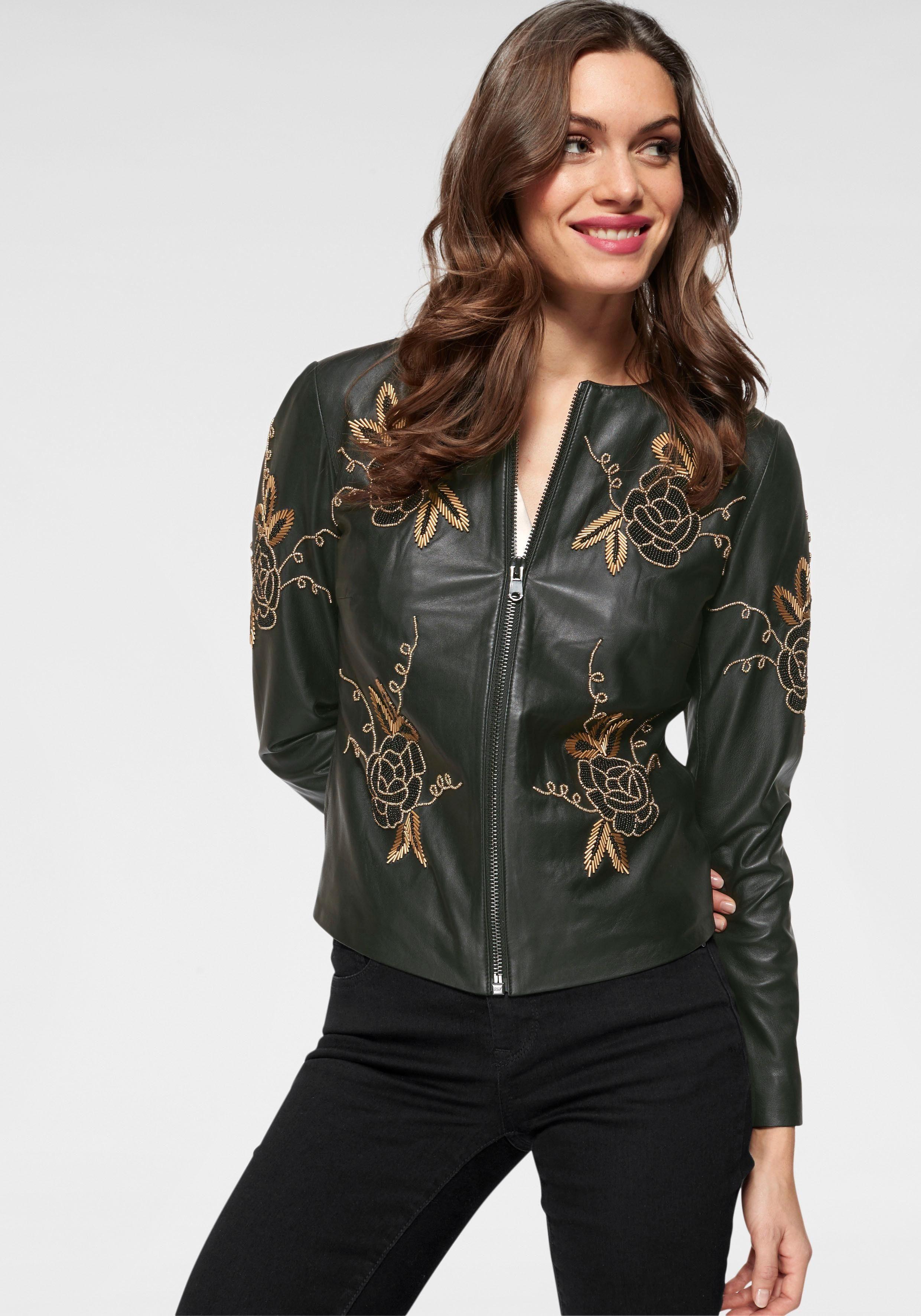 GUIDO MARIA KRETSCHMER Lederjacke mit Blütenstickereien online kaufen   OTTO