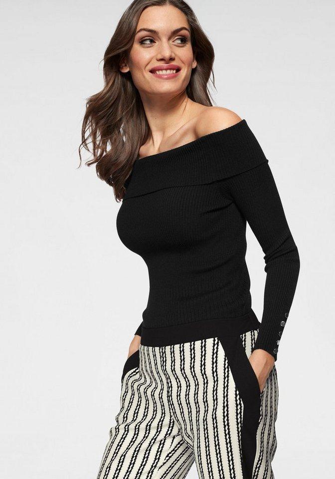 GUIDO MARIA KRETSCHMER Carmenpullover mit Zierknöpfen | Bekleidung > Pullover > Carmenpullover | Schwarz | GUIDO MARIA KRETSCHMER