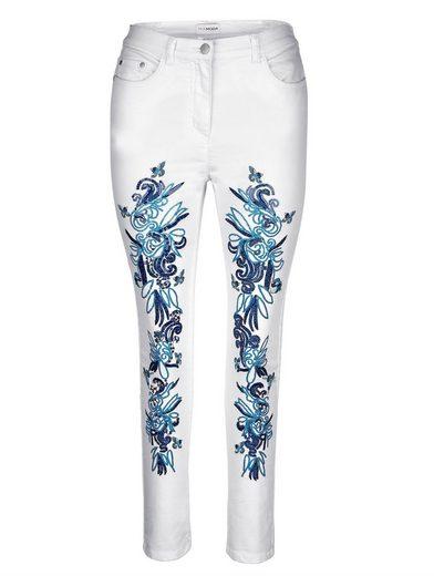 MIAMODA Hose mit aufwendiger Stickerei vorne