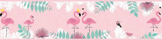 A.S. Création Bordüre »Flamingo Love«, glatt, für Baby- und Kinderzimmer, selbstklebend, PVC-frei