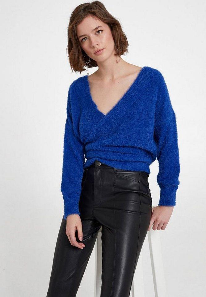 OXXO Wickelpullover mit gekreuzter Optik und Rückendetail | Bekleidung > Pullover > Wickelpullover | Blau | OXXO