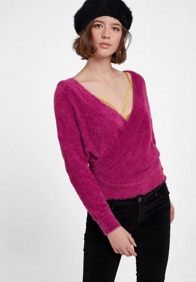 OXXO Wickelpullover mit gekreuzter Optik und Rückendetail | Bekleidung > Pullover > Wickelpullover | Lila | OXXO
