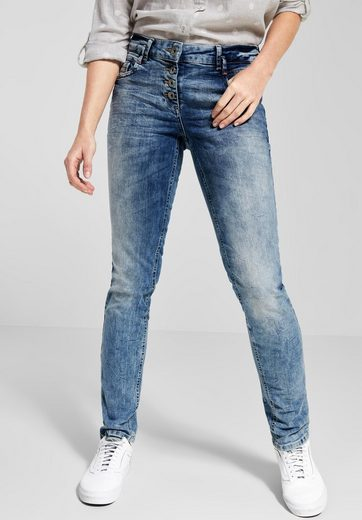 Cecil Regular-fit-Jeans mit Crash-Effekt