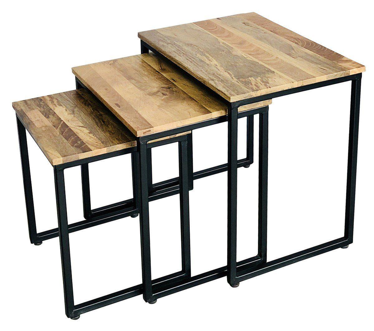 KAWOLA Hocker Set dreiteilig rechteckig Massivholz »VARI«