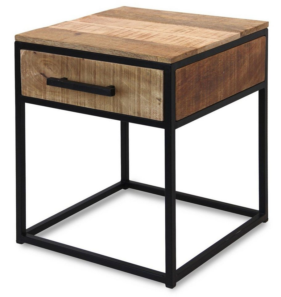 kawola beistelltisch mit schublade holz metall indi. Black Bedroom Furniture Sets. Home Design Ideas