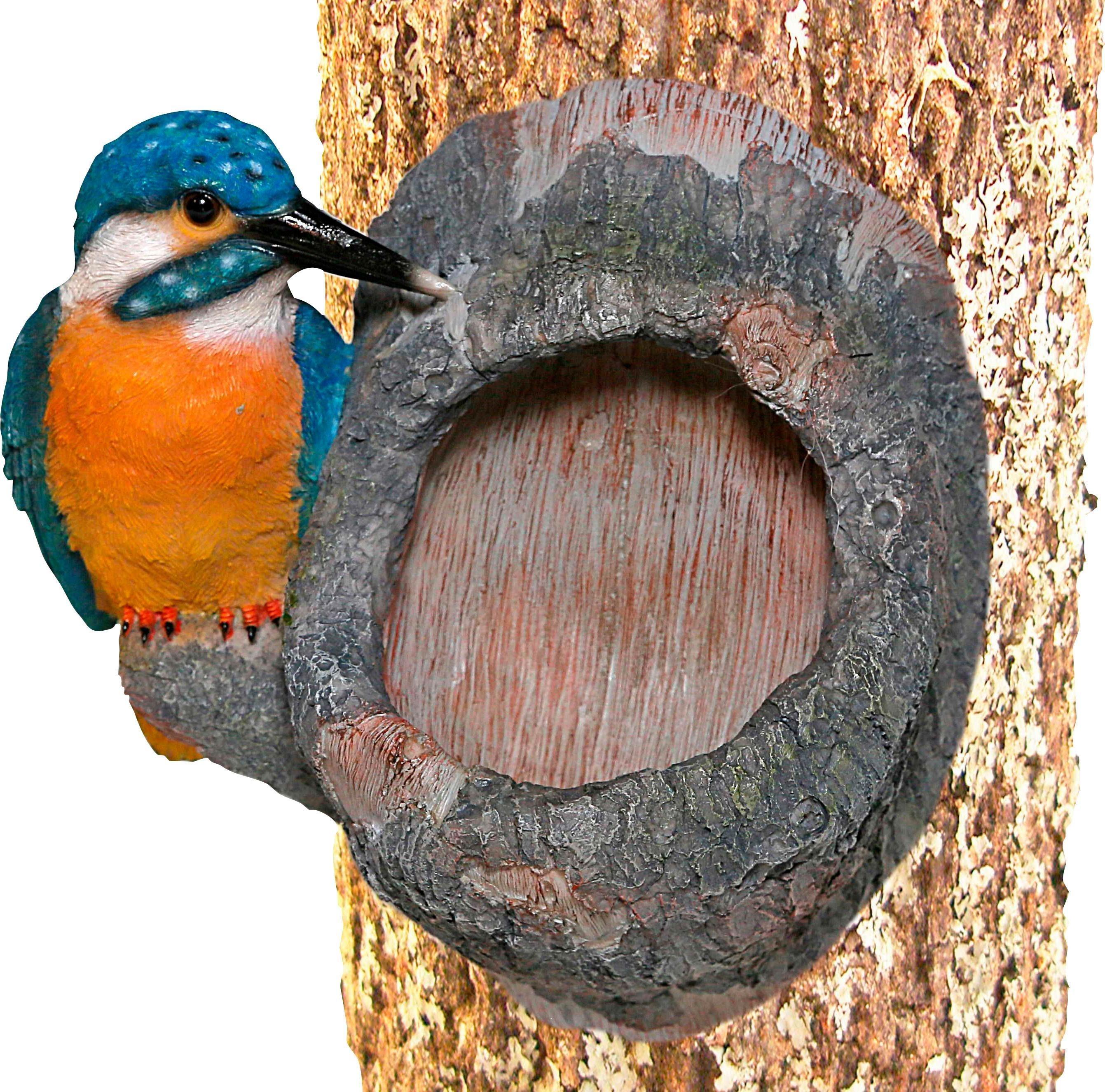 Tierfigur»Eisvogel am Stamm« mit Baumbefestigung