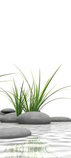 SCHULTE Duschrückwand »DecoDesign - Zen-Steine Gras«, 90 x 210 cm