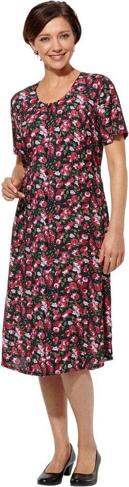 Damen Classic Basics Kleid mit sommerlichem Blütendessin rot | 08693458060362