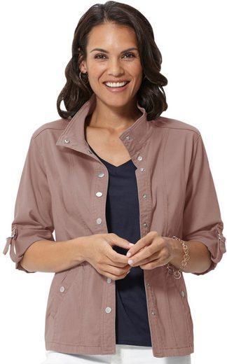 Casual Looks Blusenjacke mit Zierriegel und Druckknöpfen verziert