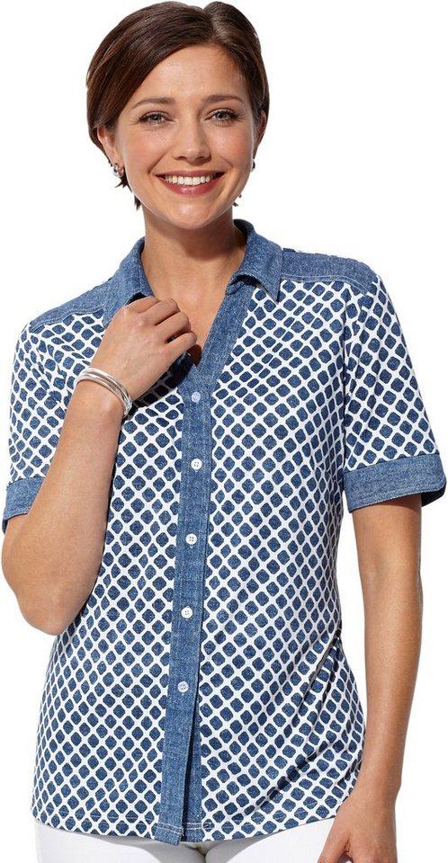 Damen Classic Basics Jersey-Bluse in cooler Jeans-Optik blau | 08934958071732
