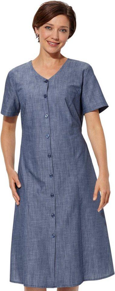 Damen Classic Basics Kleid in modischer Leinen-Optik blau | 08693458058628