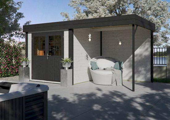 LUOMAN Set: Gartenhaus »Lillevilla 568«, BxT: 475x298 cm, inkl. Anbaudach mit Rückwand