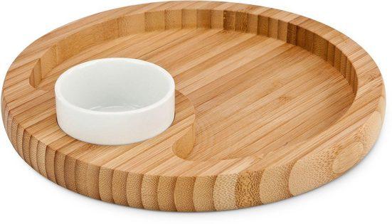 ROMINOX Servier-Set »Phialo«, Bambus, Keramik, (1 Servierbrett, 1 Dipschale)