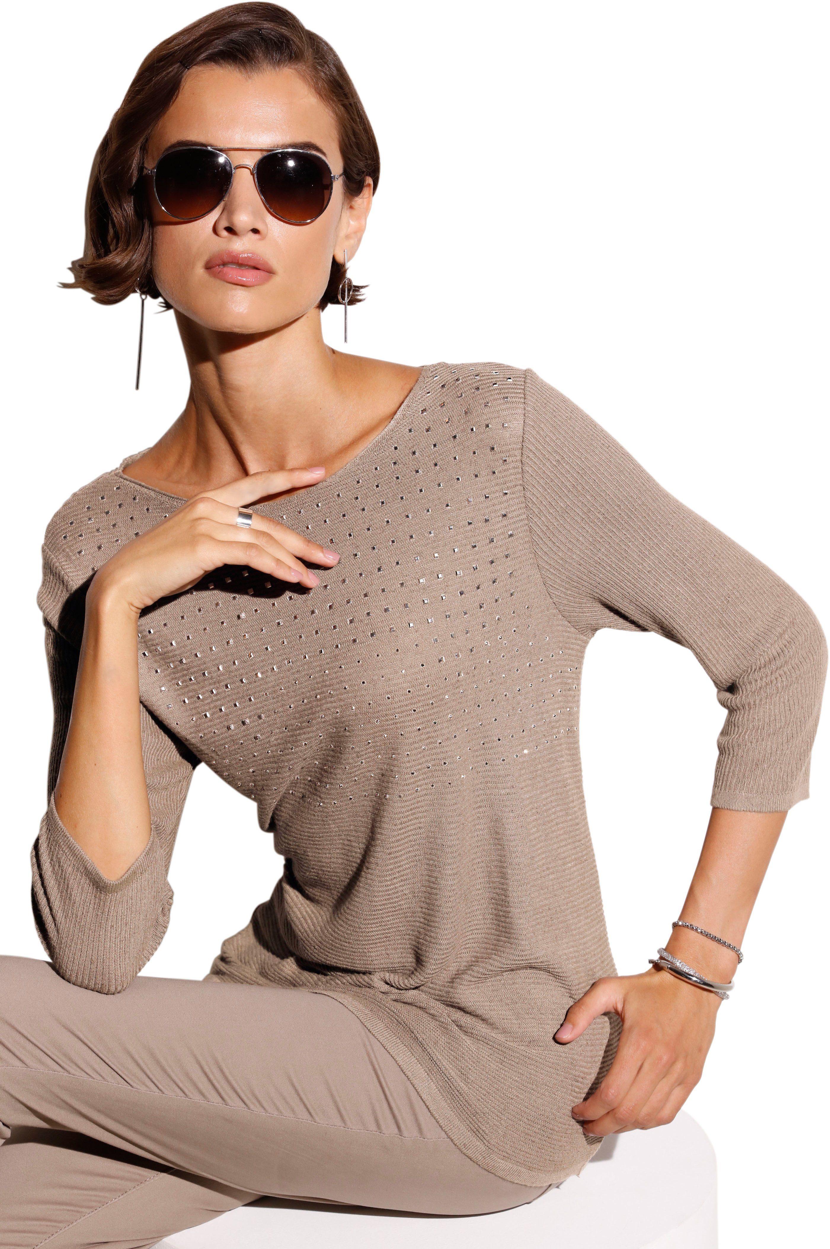création L Pullover mit Fledermausärmel schwarz beige