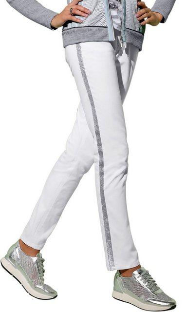 création L Jeans mit seitlich funkelndem Galonstreifen