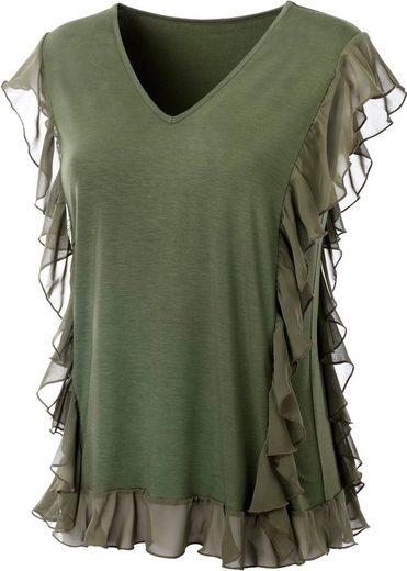 création L Shirt mit Volants aus zartem Chiffon