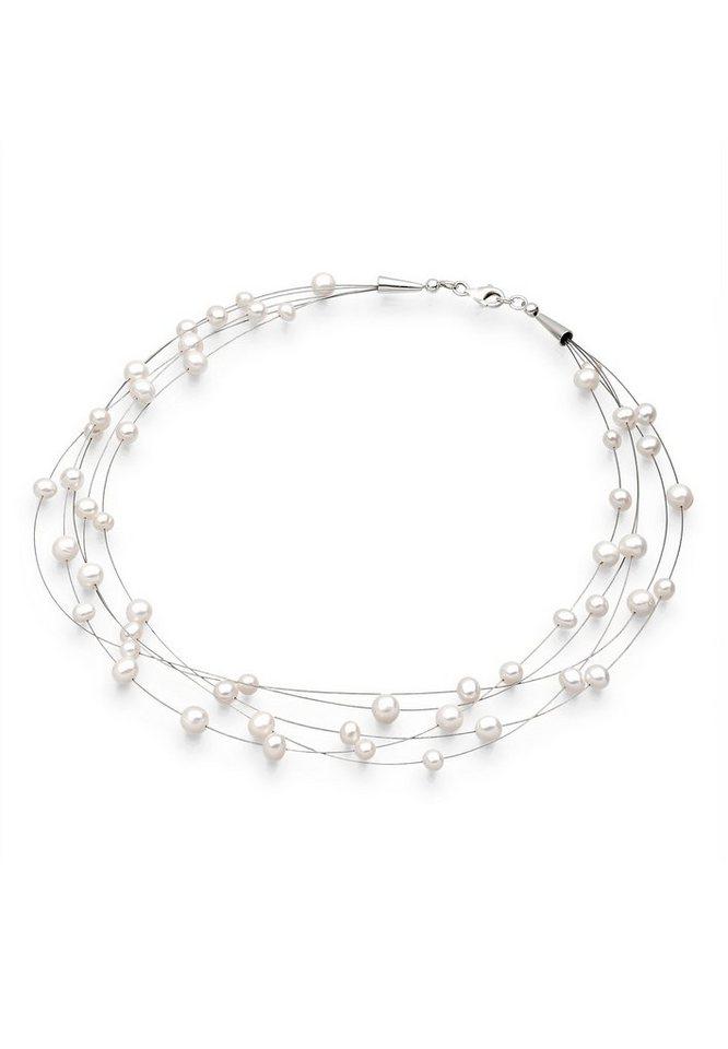 Elli Perlenkette »Süßwasserzuchtperlen 925 Sterling Silber« | Schmuck > Halsketten > Perlenketten | Weiß | Elli