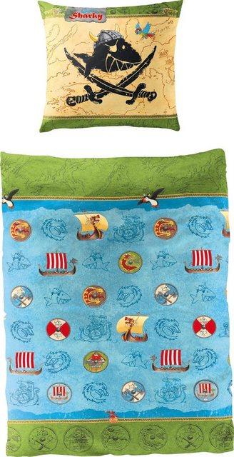 Kinderbettwäsche »Wikinger«, Capt`n Sharky, mit GRATIS-Zugabe: Sharkys Liederschatz CD | Kinderzimmer > Textilien für Kinder > Kinderbettwäsche | Baumwolle | Capt`n Sharky