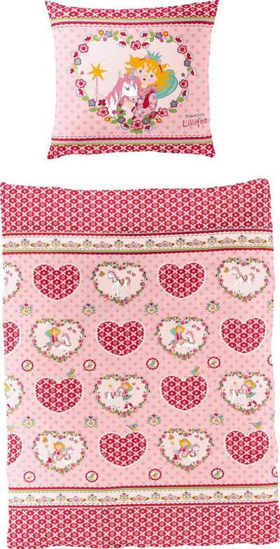 Kinderbettwäsche »Herz«, Prinzessin Lillifee, mit Herzen und Blumen