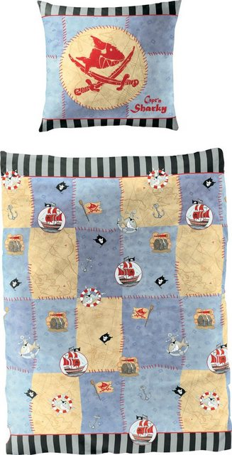 Kinderbettwäsche »Hai«, Capt`n Sharky, mit GRATIS-Zugabe: Sharkys Liederschatz CD | Kinderzimmer > Textilien für Kinder > Kinderbettwäsche | Baumwolle | Capt`n Sharky