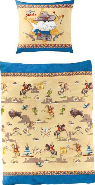 Kinderbettwäsche »Indianer/Cowboy«, Capt`n Sharky, mit GRATIS-Zugabe: Sharkys Liederschatz CD | Kinderzimmer > Textilien für Kinder > Kinderbettwäsche | Baumwolle | Capt`n Sharky
