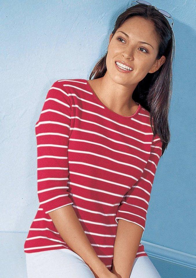 Collection L. Shirt aus reiner Baumwolle in rot-geringelt