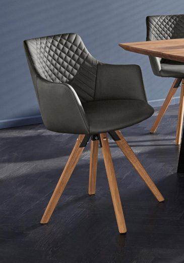 Premium collection by Home affaire Armlehnstuhl »LISABON« (Set, 2 Stück), mit Drehfunktion, Bezug aus Leder, das Gestell aus Eiche Massivholz geölt