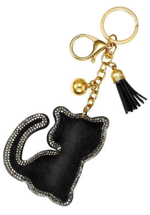 J.Jayz Schlüsselanhänger »Katze, 139-420« mit Strasssteinen und Acrylperlen | Accessoires > Schlüsselanhänger | Schwarz | J.Jayz