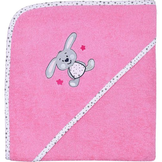 Wörner Kapuzen-Badetuch, Hase, pink, 100 x 100 cm