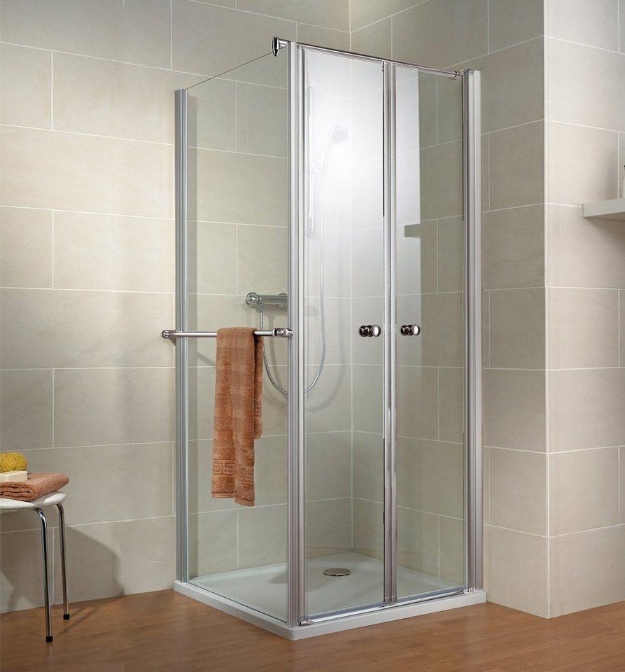SCHULTE Sparset: Eckdusche »Garant«, Pendeltür mit Seitenwand, 80 x 80 cm | Bad > Duschen > Duschen | Schulte