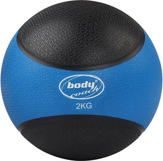 body coach Medizinball »Medizinball zweifarbiger Gymnastikball 2 KG Gewicht Ø 19,5 cm pflegeleichte robuste Gummi-Hülle«