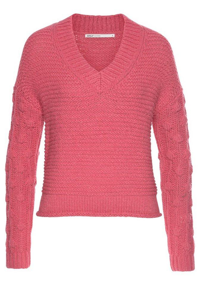 Damen Only V-Ausschnitt-Pullover »ONLMARY« rosa | 05713773586699