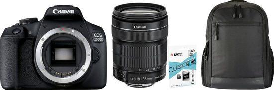 Canon »EOS 2000D EF-S18-135 Kit« Spiegelreflexkamera (EF-S 18-135mm 1:3,5-5,6 IS STM, 24,1 MP, WLAN (Wi-Fi), NFC)