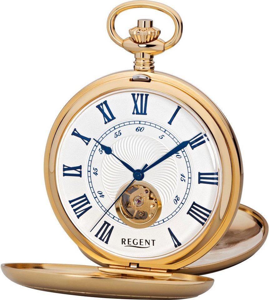 Regent Taschenuhr »P555« (Set, 2 tlg) inkl. Kette | Uhren > Taschenuhren | Goldfarben | Regent