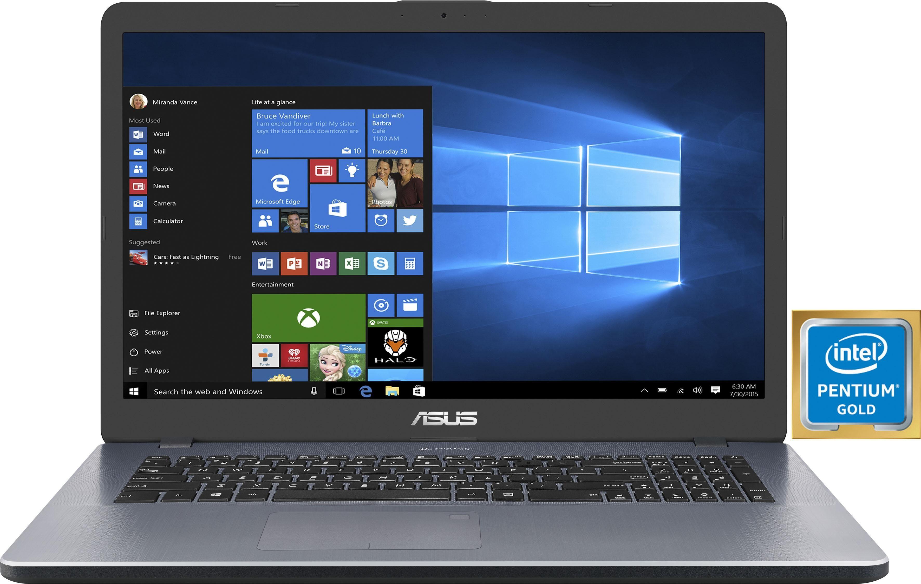 Asus VivoBook 17 F705UA Notebook (43,94 cm/17,3 Zoll, Intel Pentium Gold, HD, 1000 GB HDD)