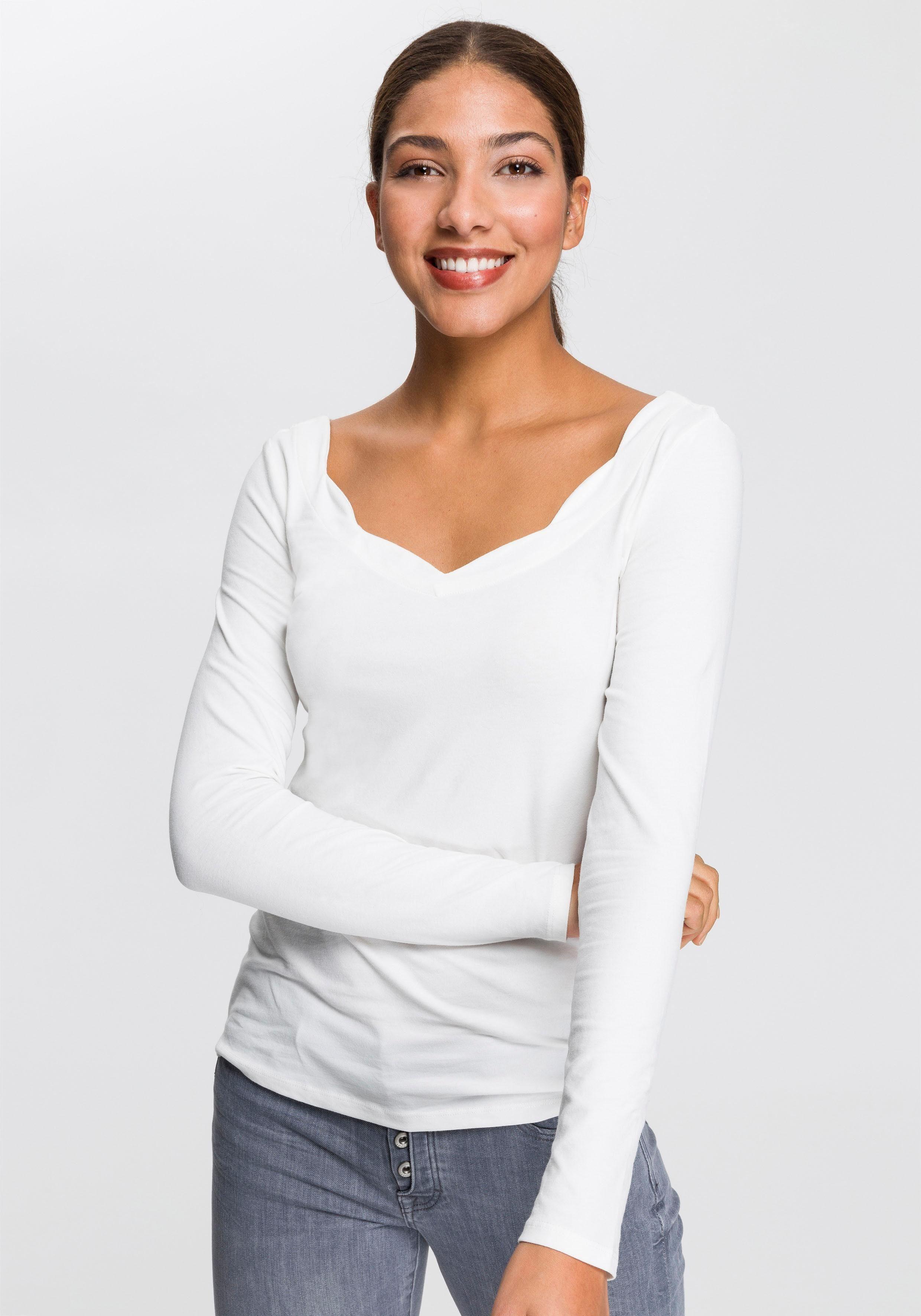 edc by Esprit Langarmshirt mit gewelltem Ausschnitt online kaufen | OTTO