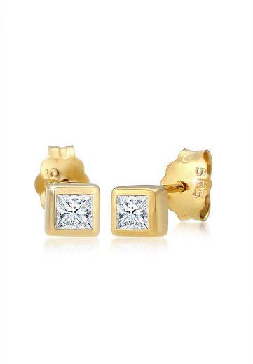 Diamore Paar Ohrstecker »Prinzessschliff Diamant (0.22 ct) 585er Gelbgold«