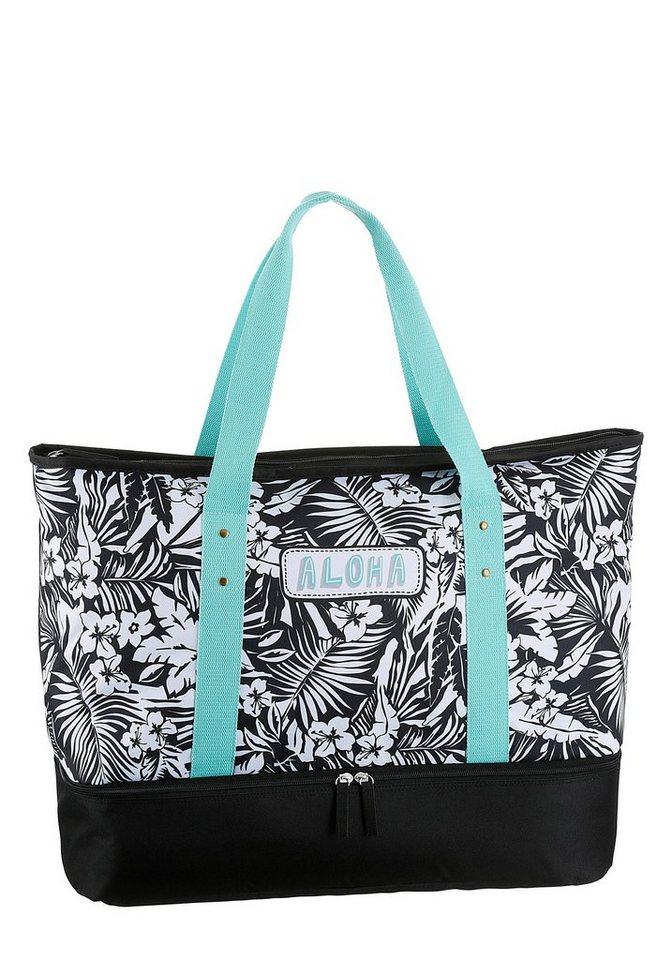 Damen fabrizio® Strandtasche (Set, 3-tlg), mit gratis Sportbeutel und Bikini Bag blau, schwarz   04002282163547