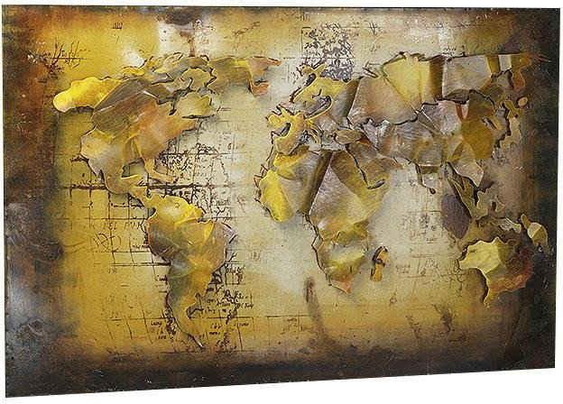 locker Metallbild »3D WELTKARTE«, Weltkarte