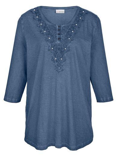 MIAMODA Shirt mit Spitze und kleinen Deko-Perlen am Ausschnitt